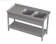 Stół z dwoma zlewami i półką RMS *