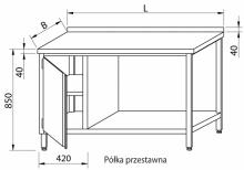 Stół przyścienny z szafką i półką RMS-1033 *