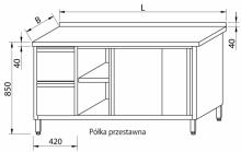 Stół przyścienny z szufladami i drzwiami suwanymi RMS-1028 *