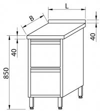 Stół przyścienny z szufladami RMS 1024 *