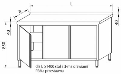 Stół przyścienny z drzwiami skrzydłowymi RMS-1023