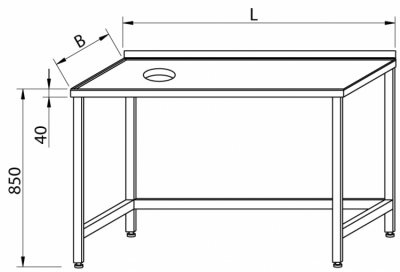 Stół z 2-ma zlewami i półką RMS-1142