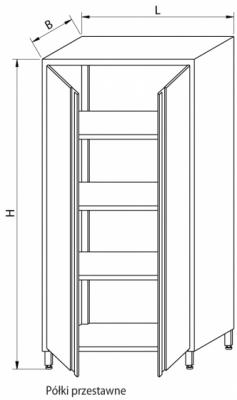 Szafa magazynowa z drzwiami skrzydłowymi RMM-1204