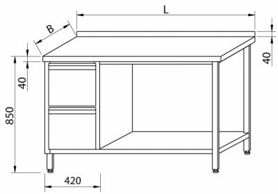 Stół przyścienny z szufladami i z półką RMS-1026