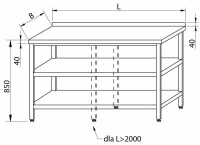 Stół przyścienny z 2-ma półkami RMS-1005