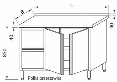 Stół przyścienny z szufladami i drzwiami skrzydłowymi RMS-1029
