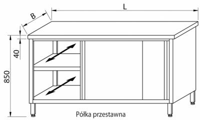 Stół przelotowy z drzwiami suwanymi RMS-1036