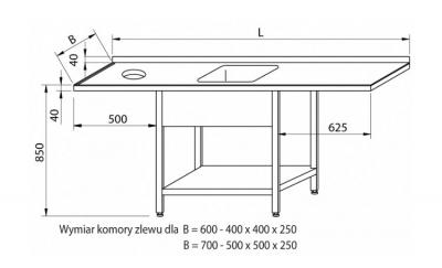 Stół przedłużony ze zlewem i otworem RMS