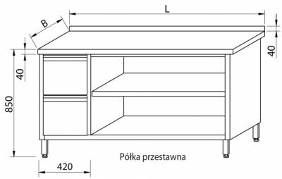 Stół przyścienny z szufladami i szafką otwartą RMS-1027