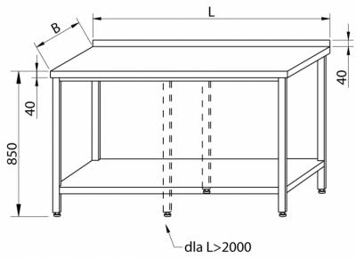 Stół przyścienny z półką RMS-1003