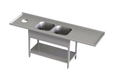 Stół przedłużony z dwoma zlewami i otworem RMS