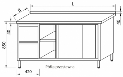 Stół przyścienny z szufladami i drzwiami suwanymi RMS-1028