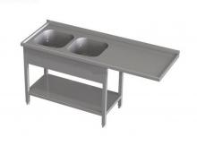 Stół przedłużony z dwoma zlewami i półką RMS *